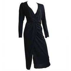 Halston 70s black jersey wrap dress size 4.