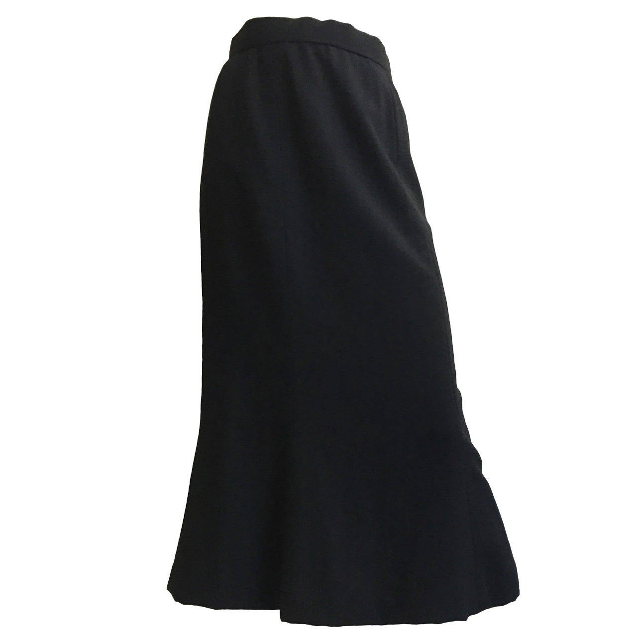 Bill Blass Black Wool Long Skirt Size 4/6.
