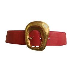 Christian Lacroix 1980s coral leather belt size 4 / 6.
