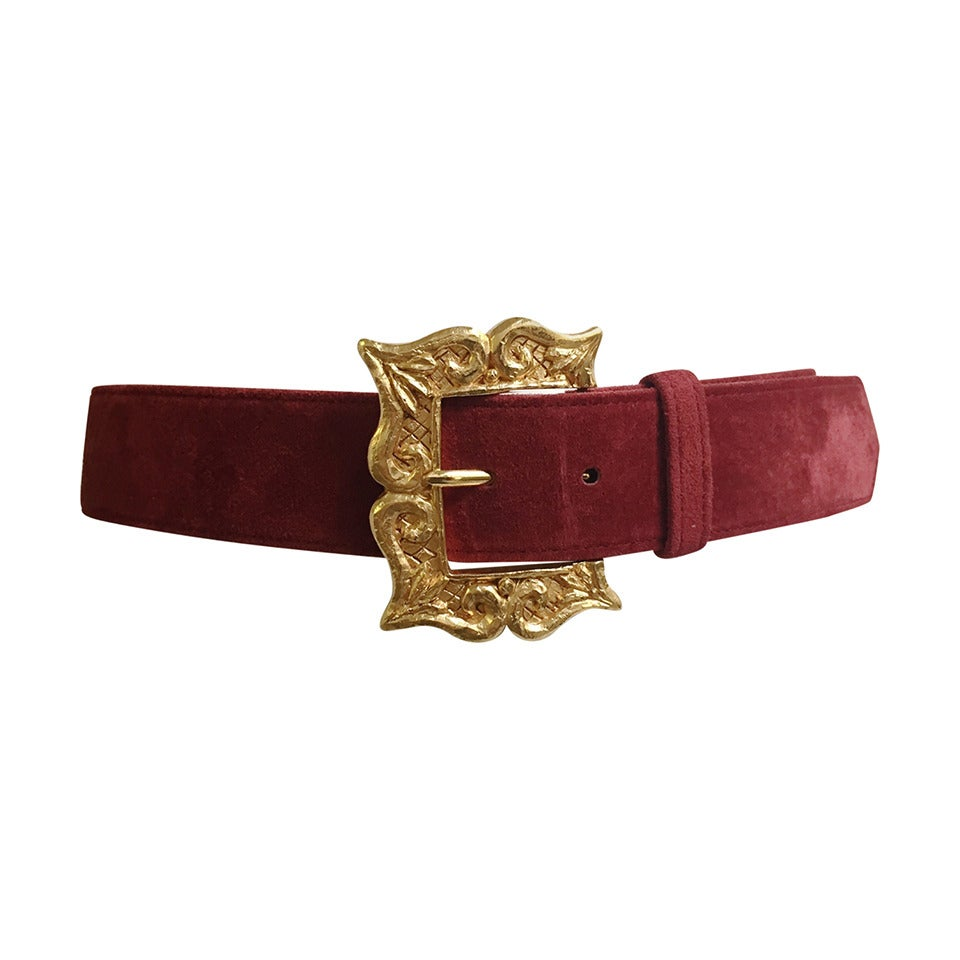 Christian Lacroix 1980s suede belt size 4. For Sale