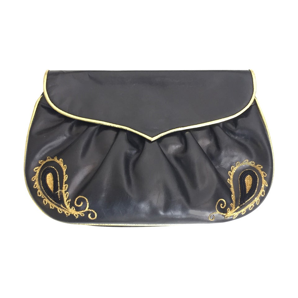 Barbara Bolan Black Leather Paisley Shoulder and/or Clutch Handbag, 1980s  For Sale