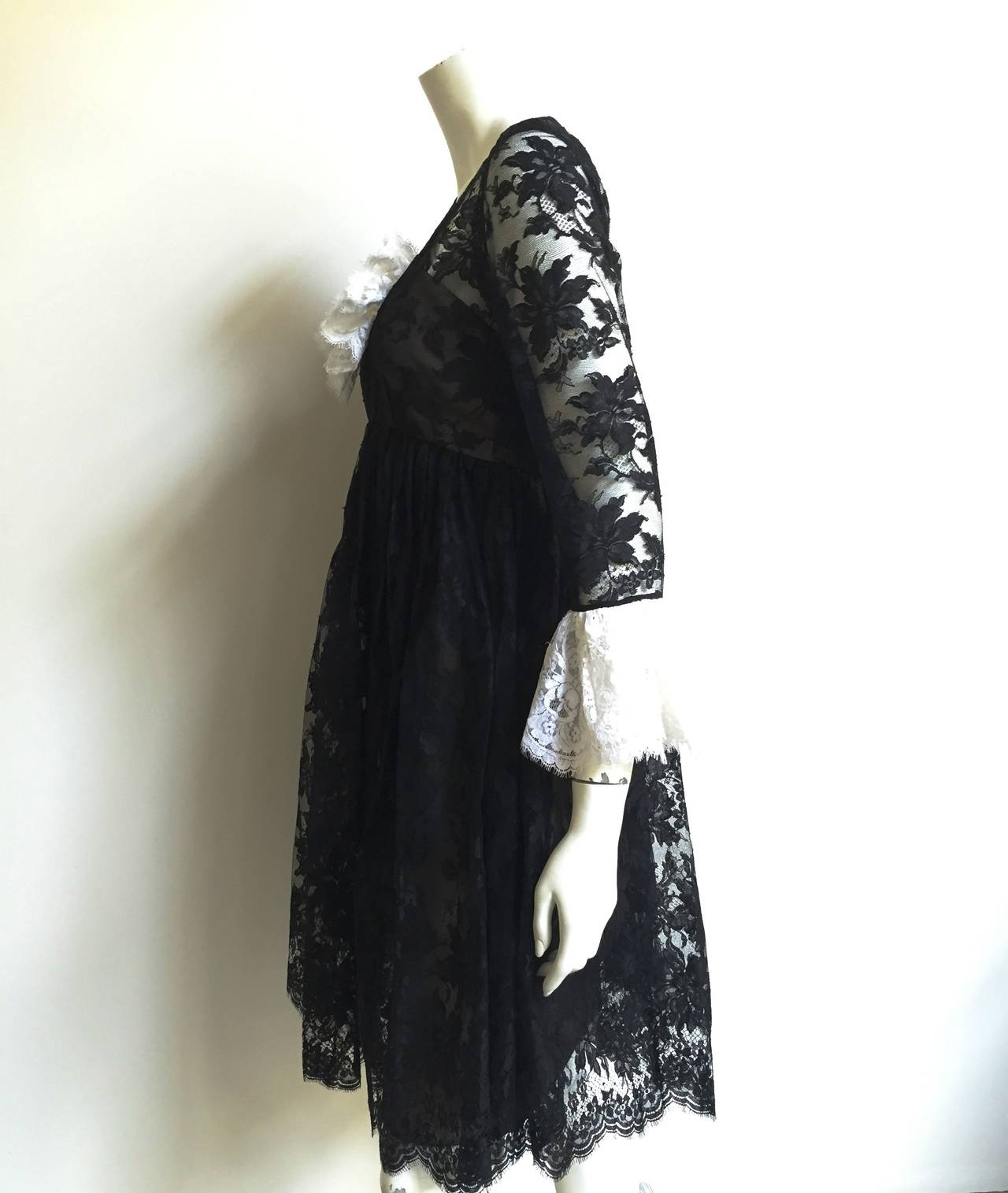 Bill Blass 60s Lace Cocktail Evening Dress Size 6. 5