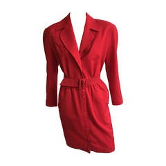Thierry Mugler 80s red dress with pockets size 6.
