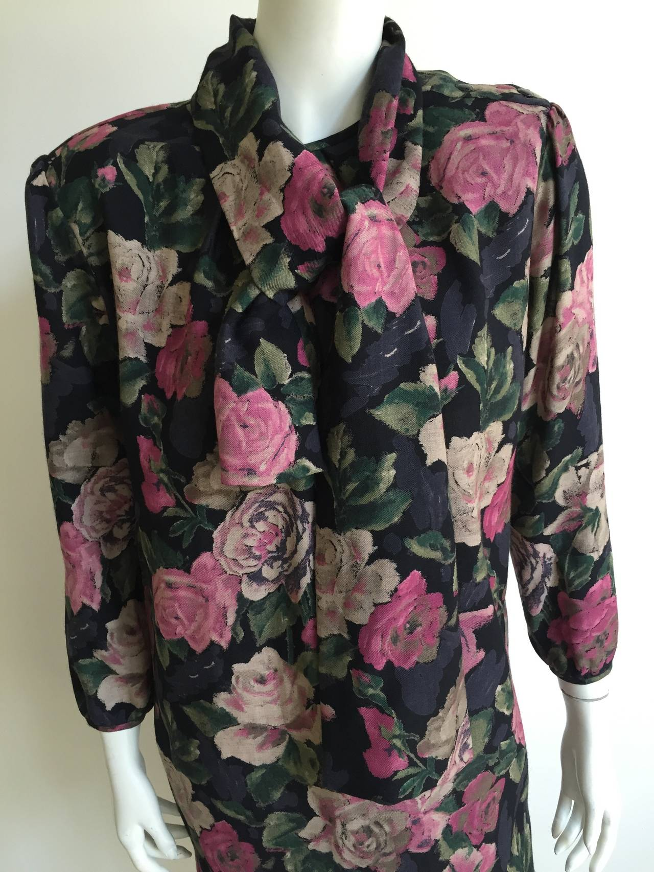 Black Ungaro Floral Dress With Pockets Size 10. For Sale
