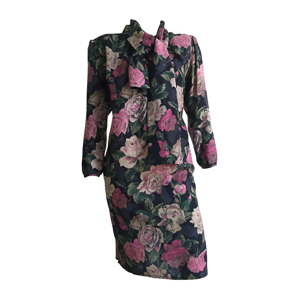 Ungaro Floral Dress With Pockets Size 10. For Sale