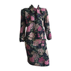 Ungaro 80s Floral Dress With Pockets Size 10.