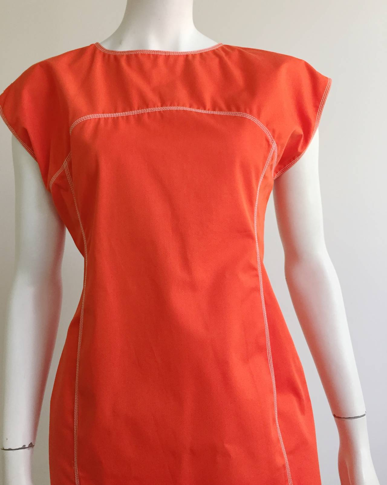 Red Courreges Paris Dress With Pockets Size 8, 1980s For Sale
