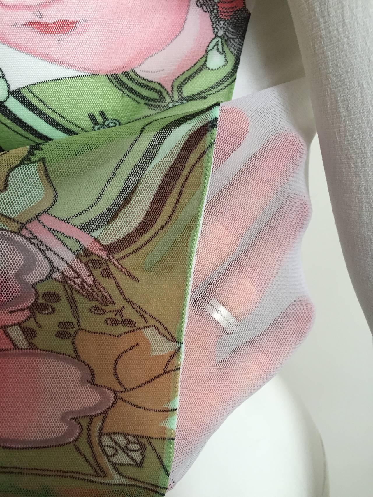 Kenzo Jungle Asian Sheer Long Sleeve Top Size Small. 9