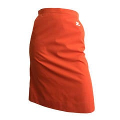 Courreges Orange Cotton Skirt With Pockets