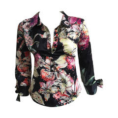Just Cavalli floral stretch blouse with bow tie cuffs size small.