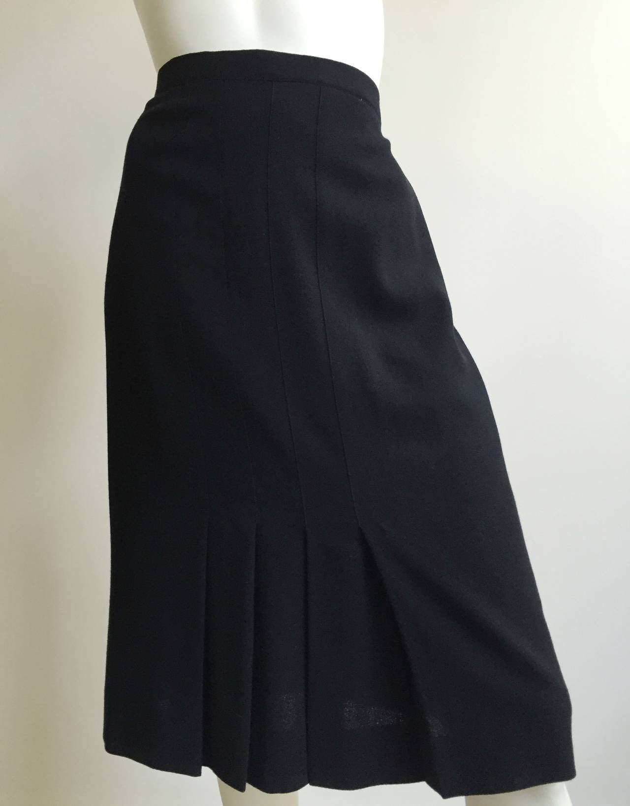 Chanel 80s Black Pleated Skirt Size 10. 10
