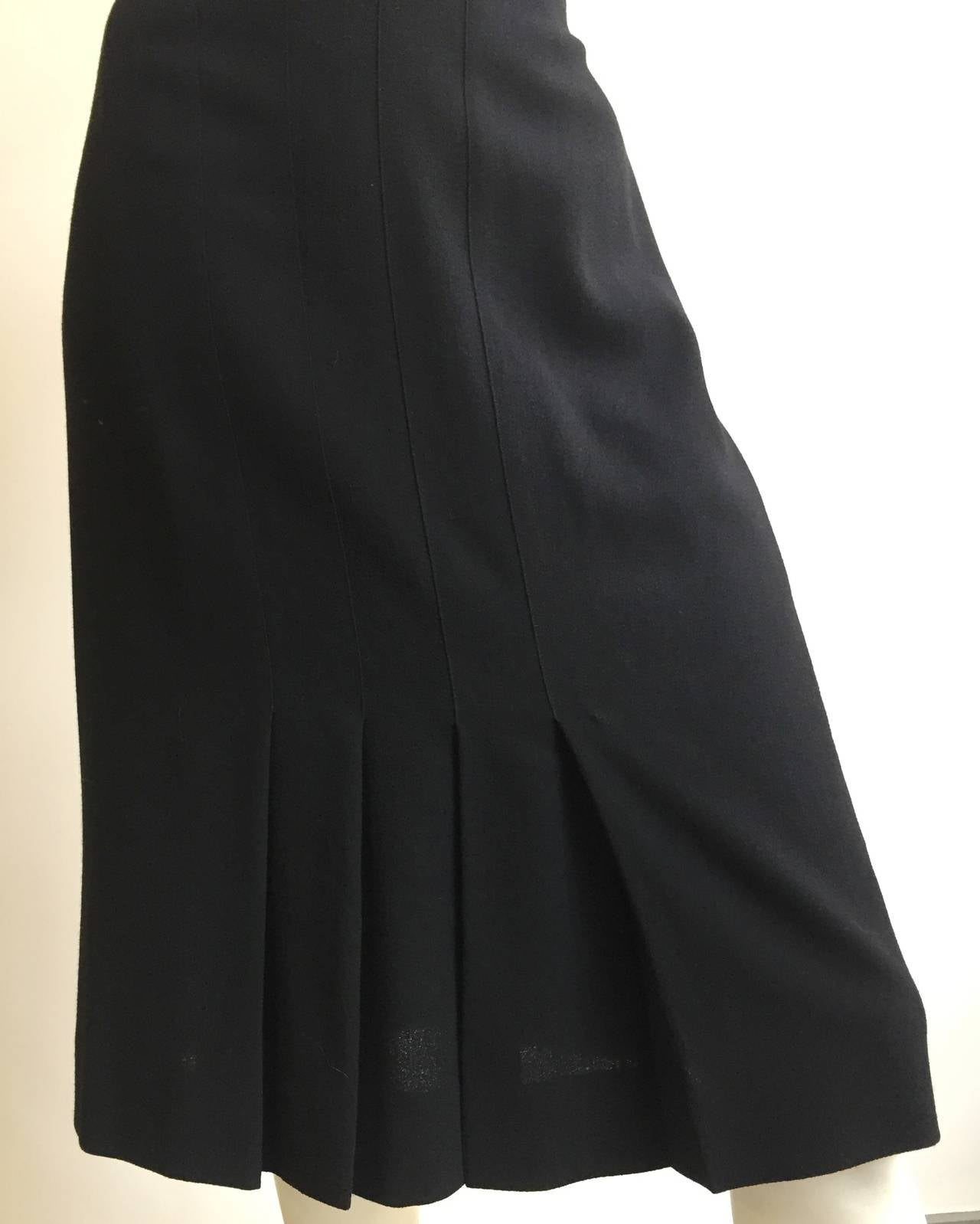 Chanel 80s Black Pleated Skirt Size 10. 2