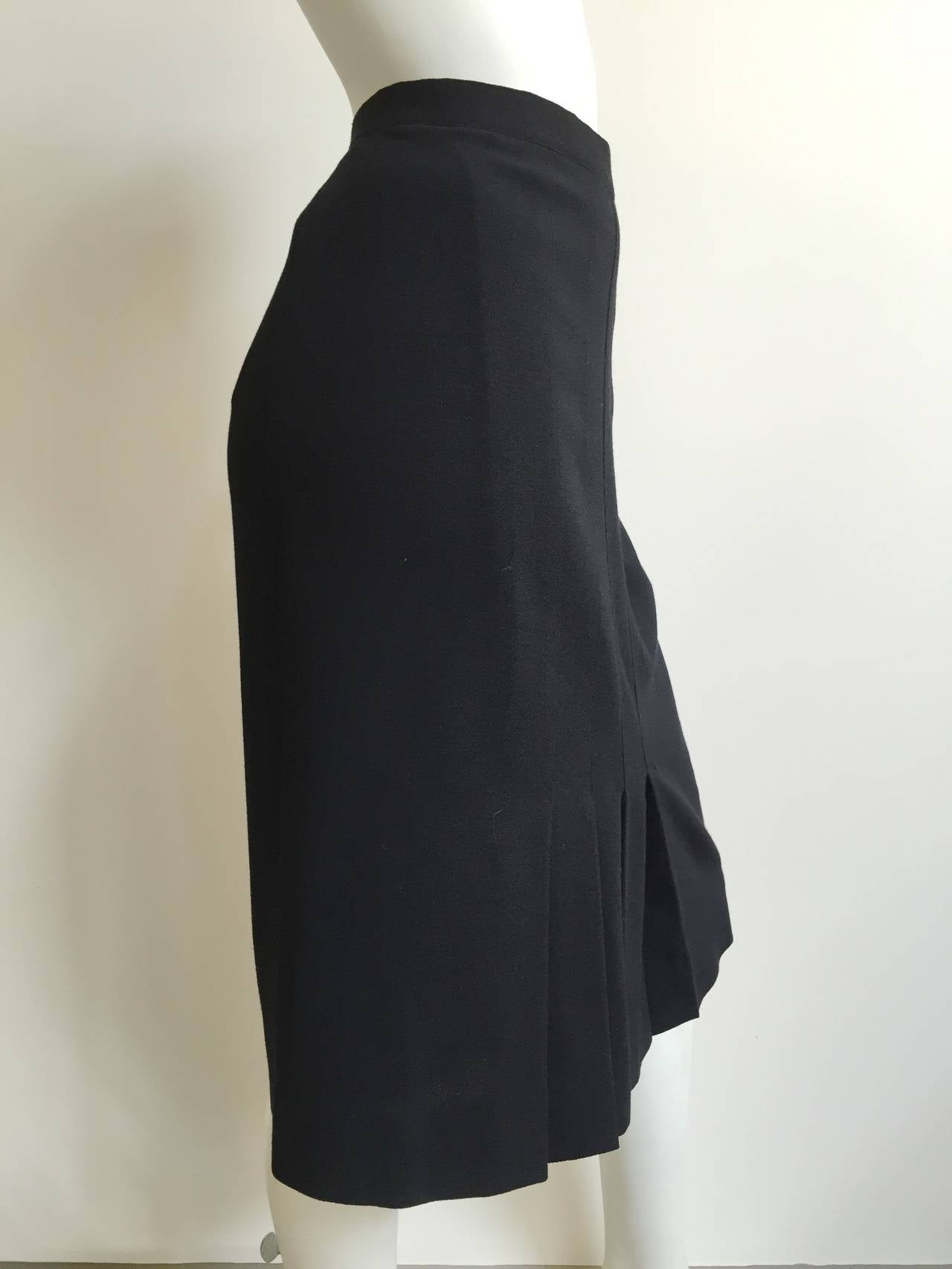 Chanel 80s Black Pleated Skirt Size 10. 3