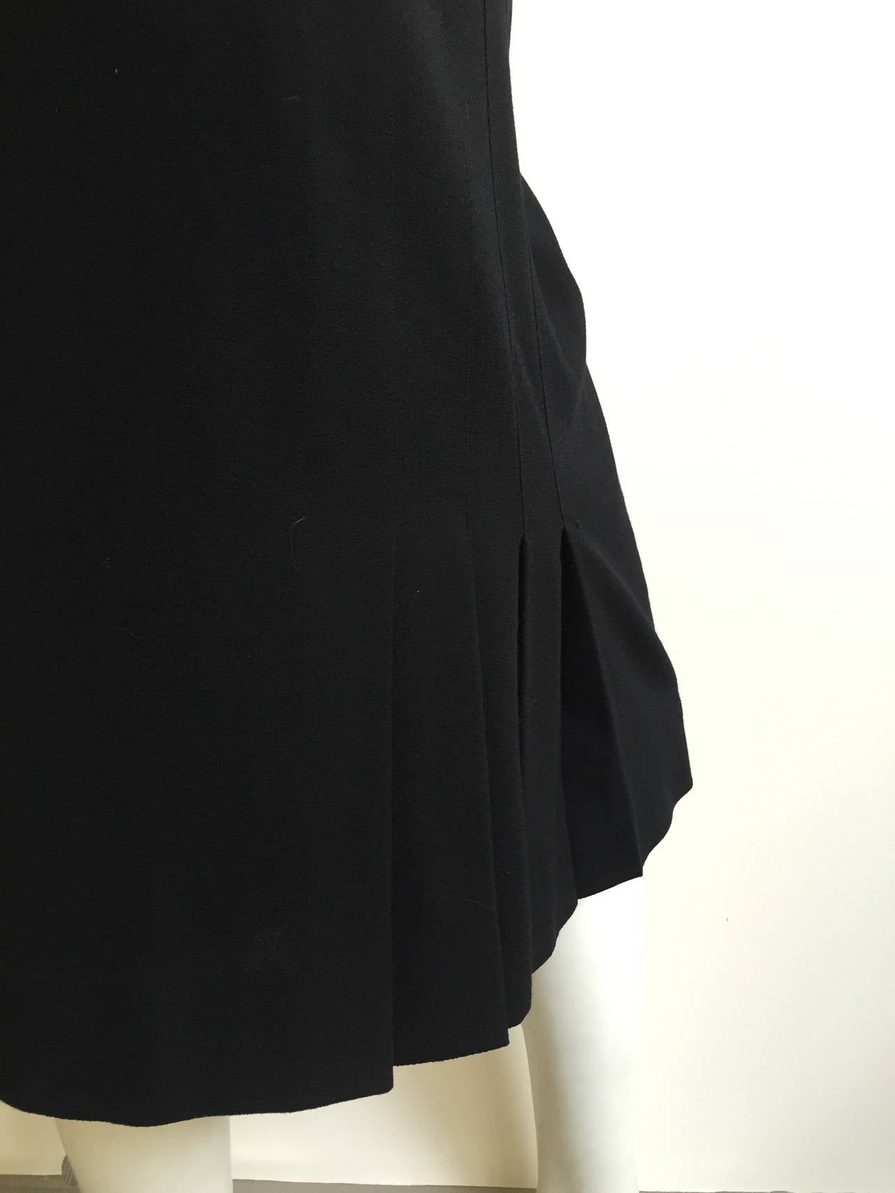 Chanel 80s Black Pleated Skirt Size 10. 4