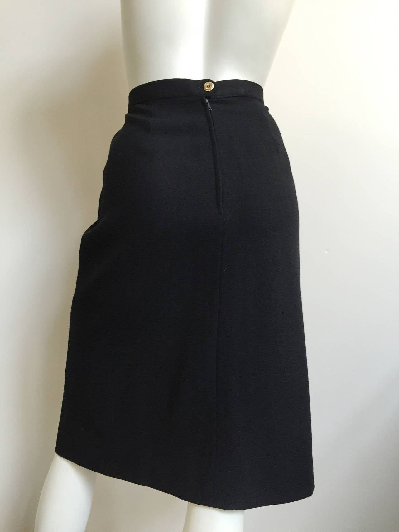 Chanel 80s Black Pleated Skirt Size 10. 5