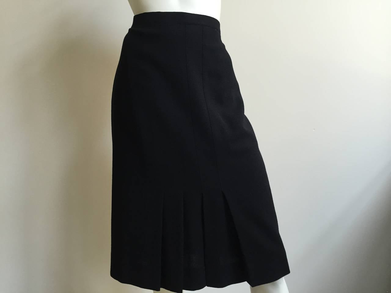 Chanel 80s Black Pleated Skirt Size 10. 7