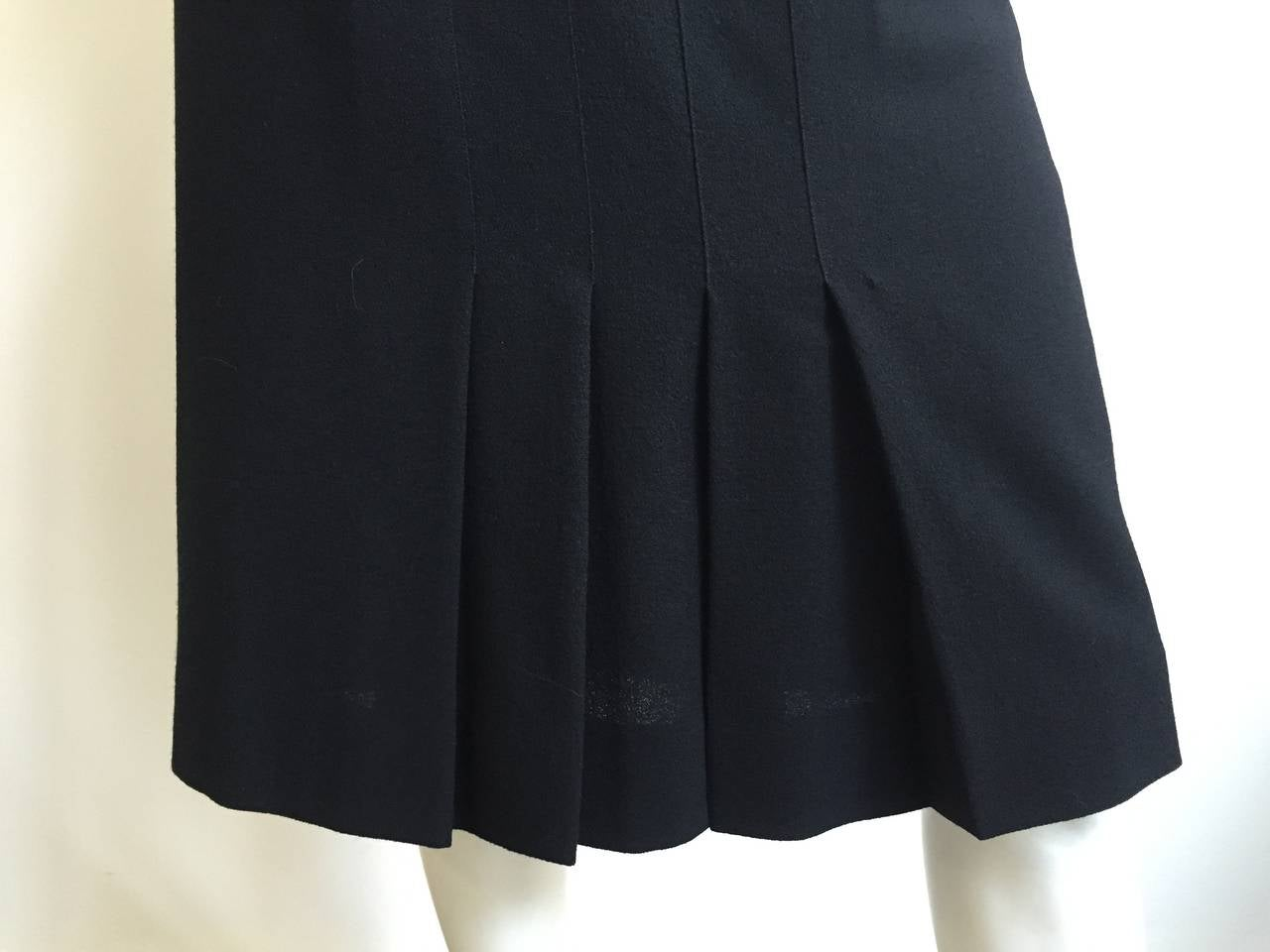 Chanel 80s Black Pleated Skirt Size 10. 8