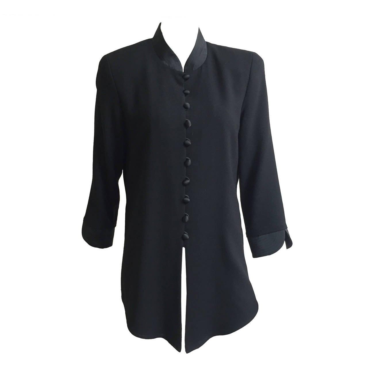 Scaasi Black Long Wool Jacket Size 10.