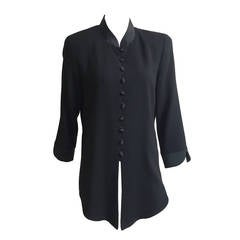 Scaasi Black Long Wool Jacket Size 10.
