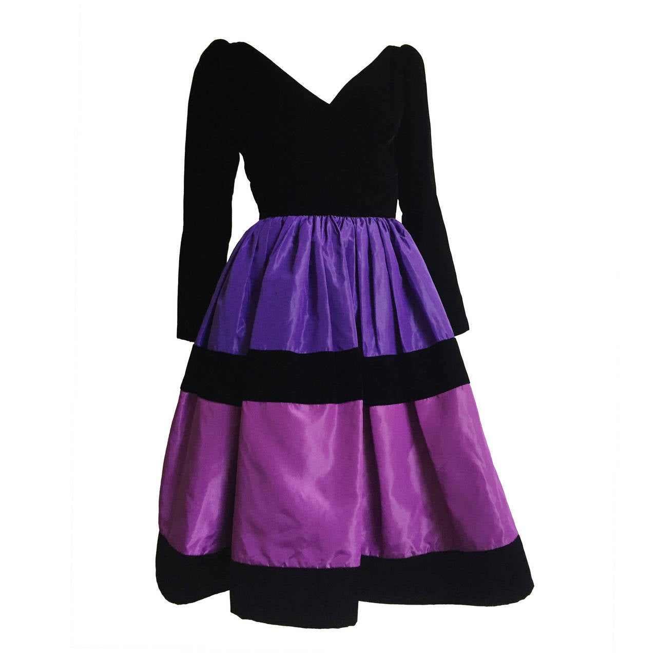 Oscar de la Renta 80s velvet and silk taffeta evening dress size 4 ...