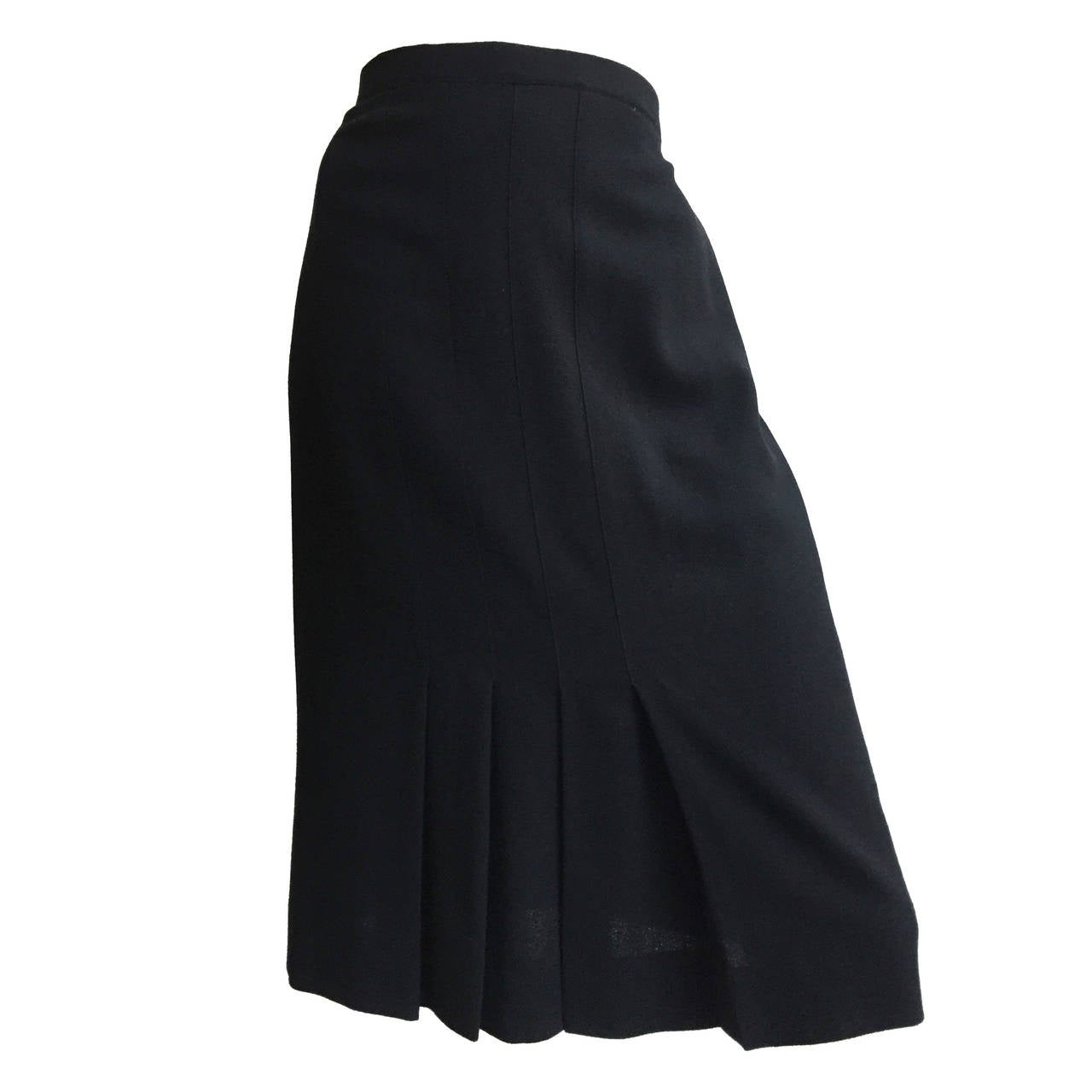 Chanel 80s Black Pleated Skirt Size 10. 1