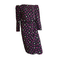 Bill Blass 70s Silk Polka Dot Dress With Cape Size 8.