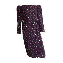 Bill Blass 70s silk polka dot dress with cape size 6 / 8.