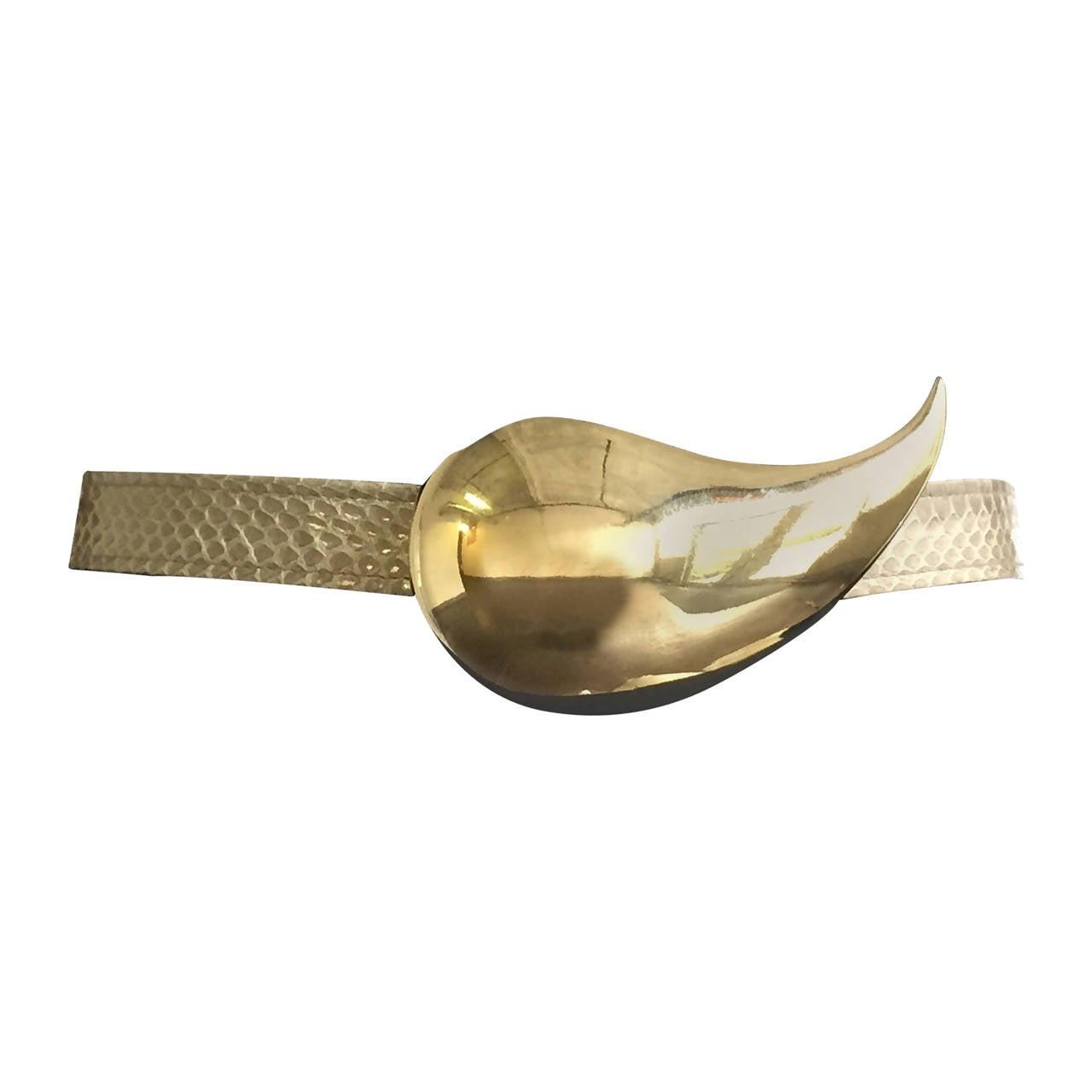 Alexis Kirk 1980s Brass Tear Drop Adjustable Belt.
