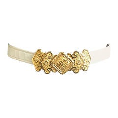 Alexis Kirk 1980s Gold Buckle with White Snake Skin Adjustable Belt.