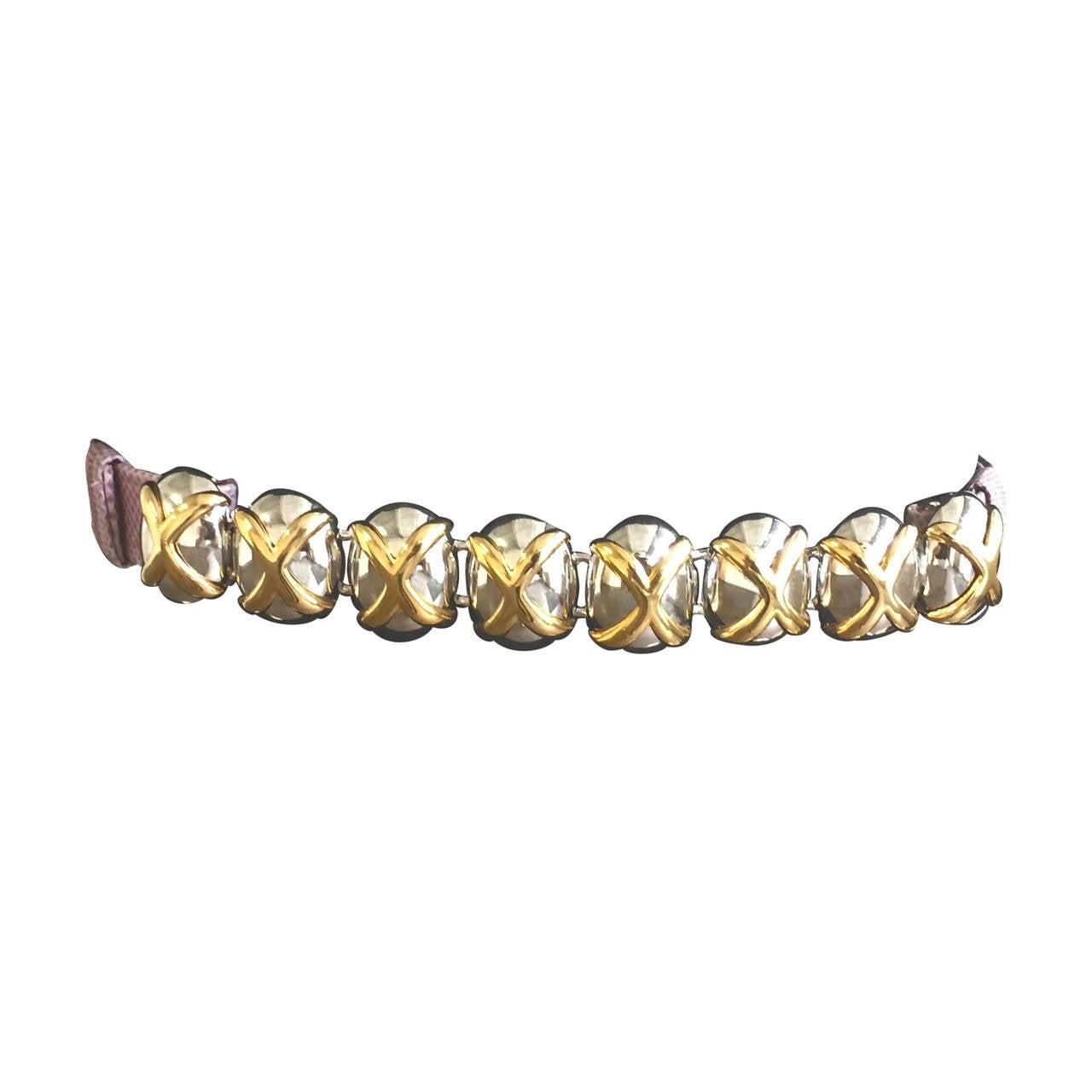 "Alexis Kirk ""X"" Design Purple Snake Skin Adjustable Belt, 1980s"