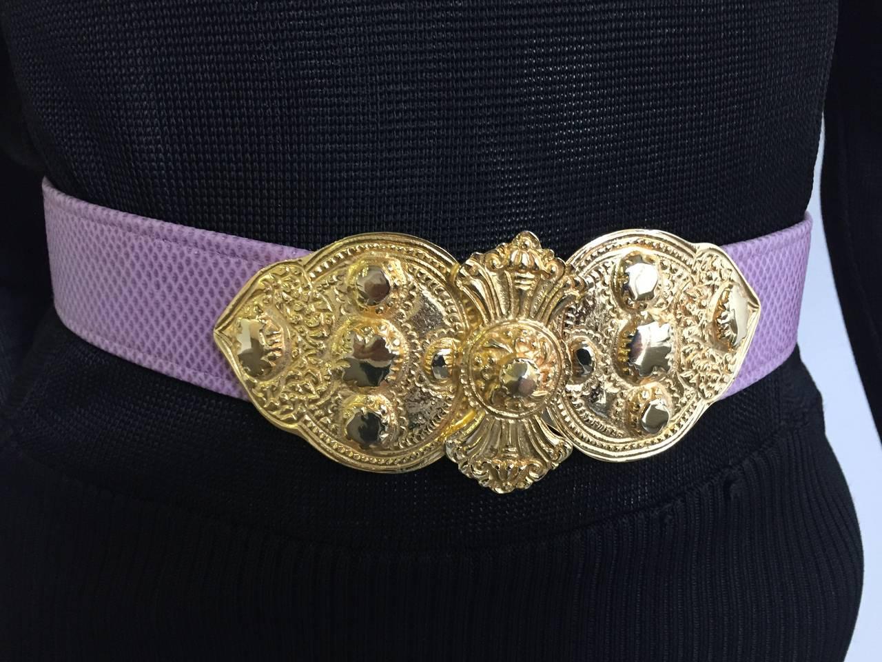 Alexis Kirk 80s purple snake skin belt. 2