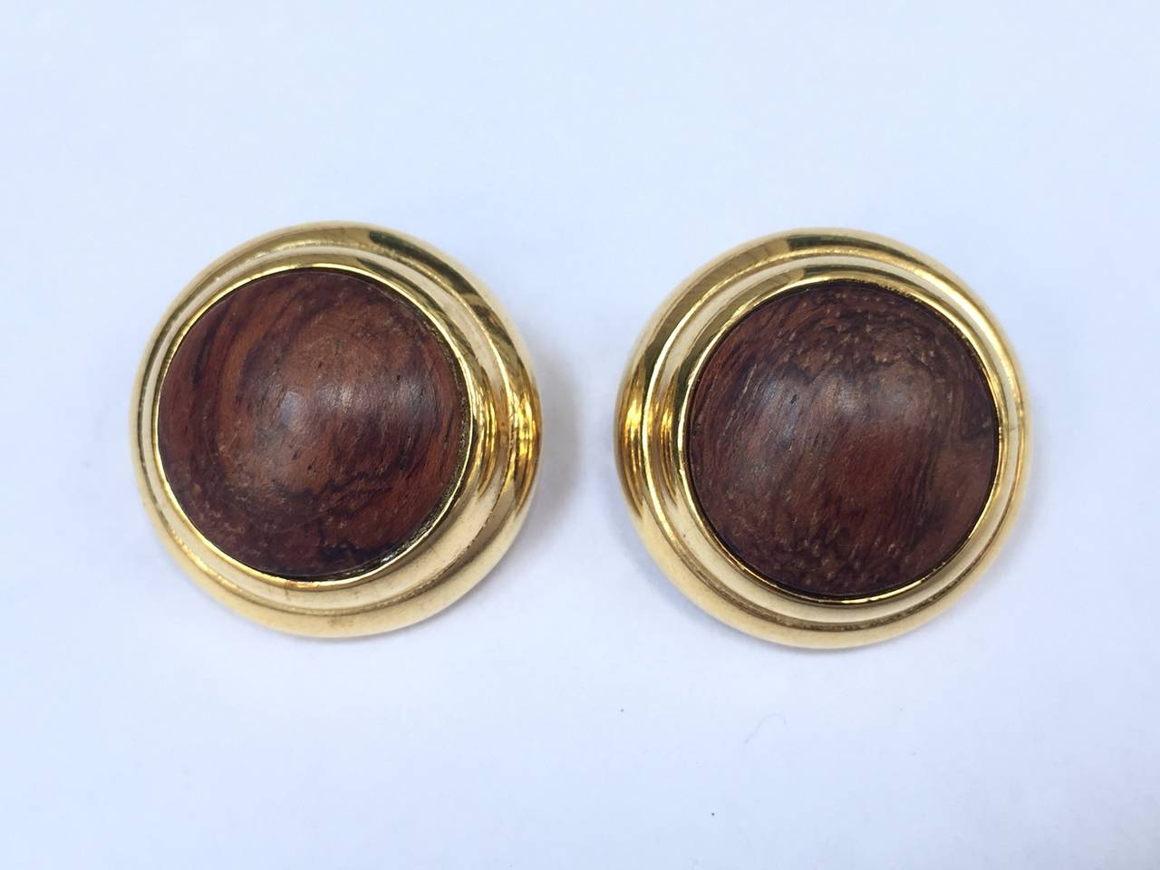 Alexis Kirk 1980s 'Wood Collection' Modern Clip Earrings. 5