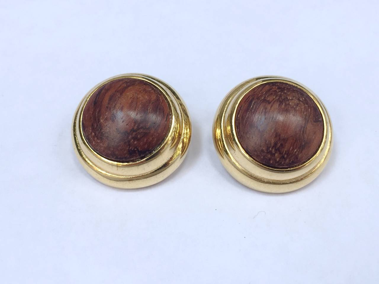 Alexis Kirk 1980s 'Wood Collection' Modern Clip Earrings. 6