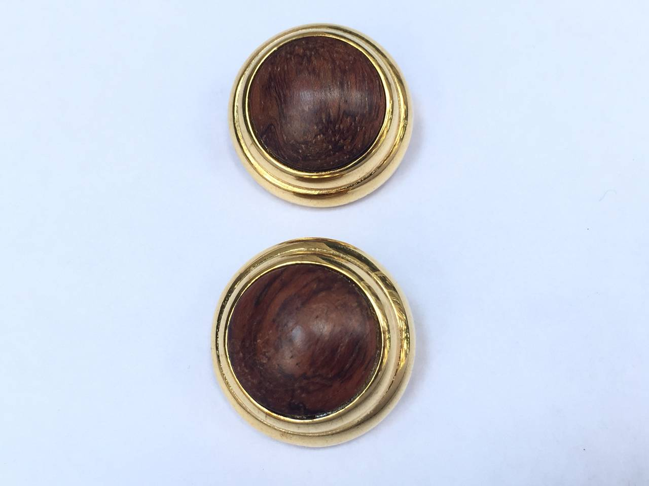 Alexis Kirk 1980s 'Wood Collection' Modern Clip Earrings. 7