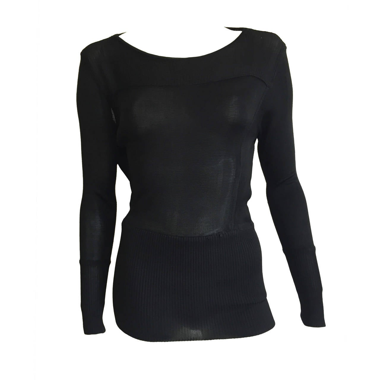 Claude Montana Black Knit Top Size 4 / 6.