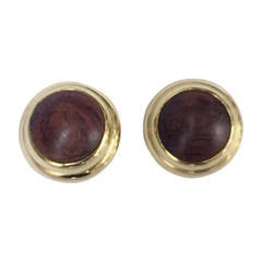 Alexis Kirk 1980s 'Wood Collection' Modern Clip Earrings.