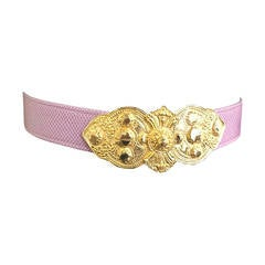 Alexis Kirk Purple Snake Skin Adjustable Belt.