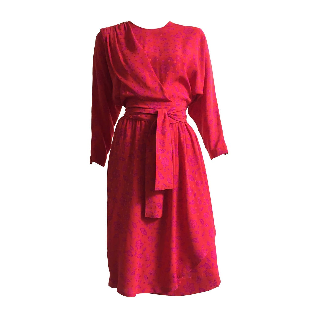 Guy Laroche 70s Silk Dress With Pockets Size 10.