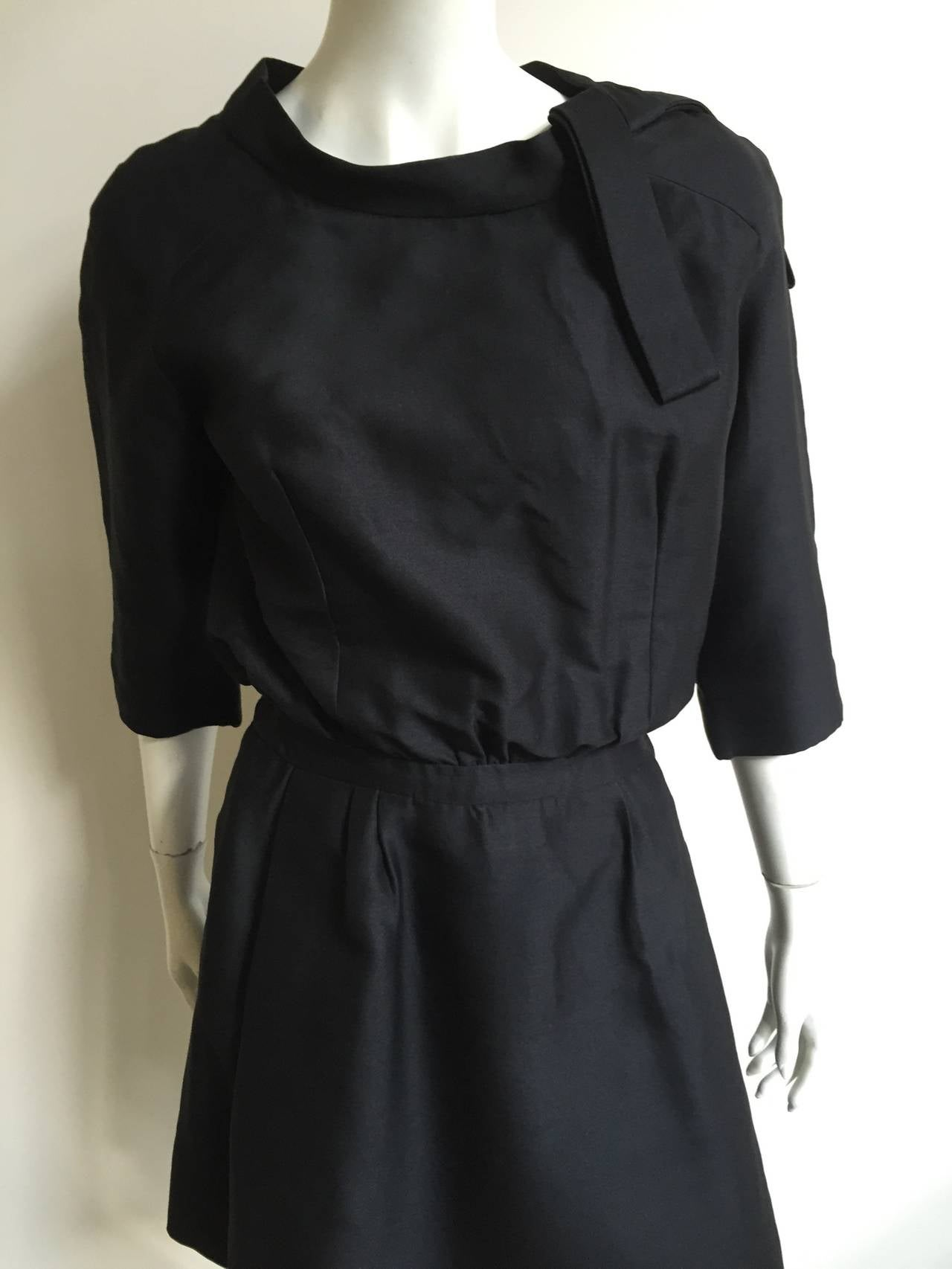Dior 1950s Black Silk Evening Dress With Pockets Size 6. 2