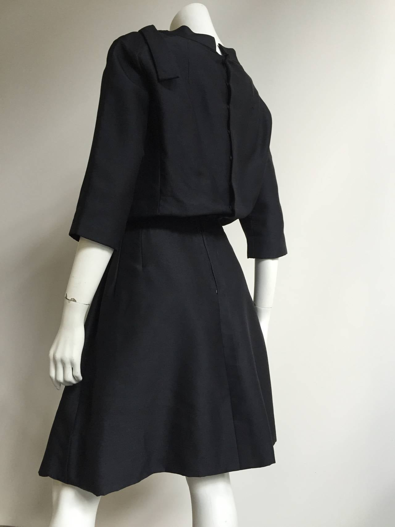 Dior 1950s Black Silk Evening Dress With Pockets Size 6. 5