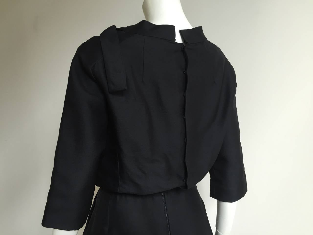 Dior 1950s Black Silk Evening Dress With Pockets Size 6. 6