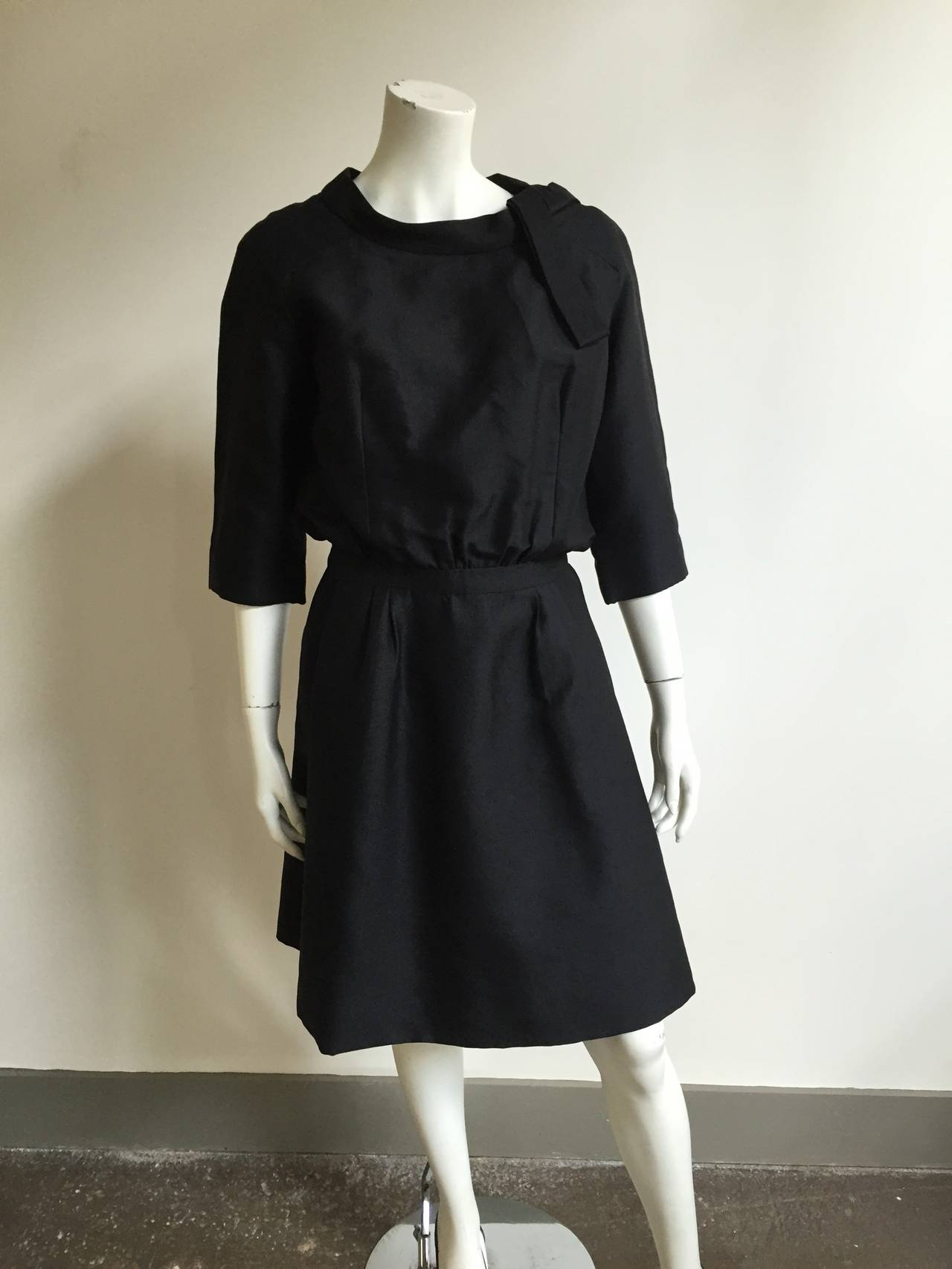 Dior 1950s Black Silk Evening Dress With Pockets Size 6. 10