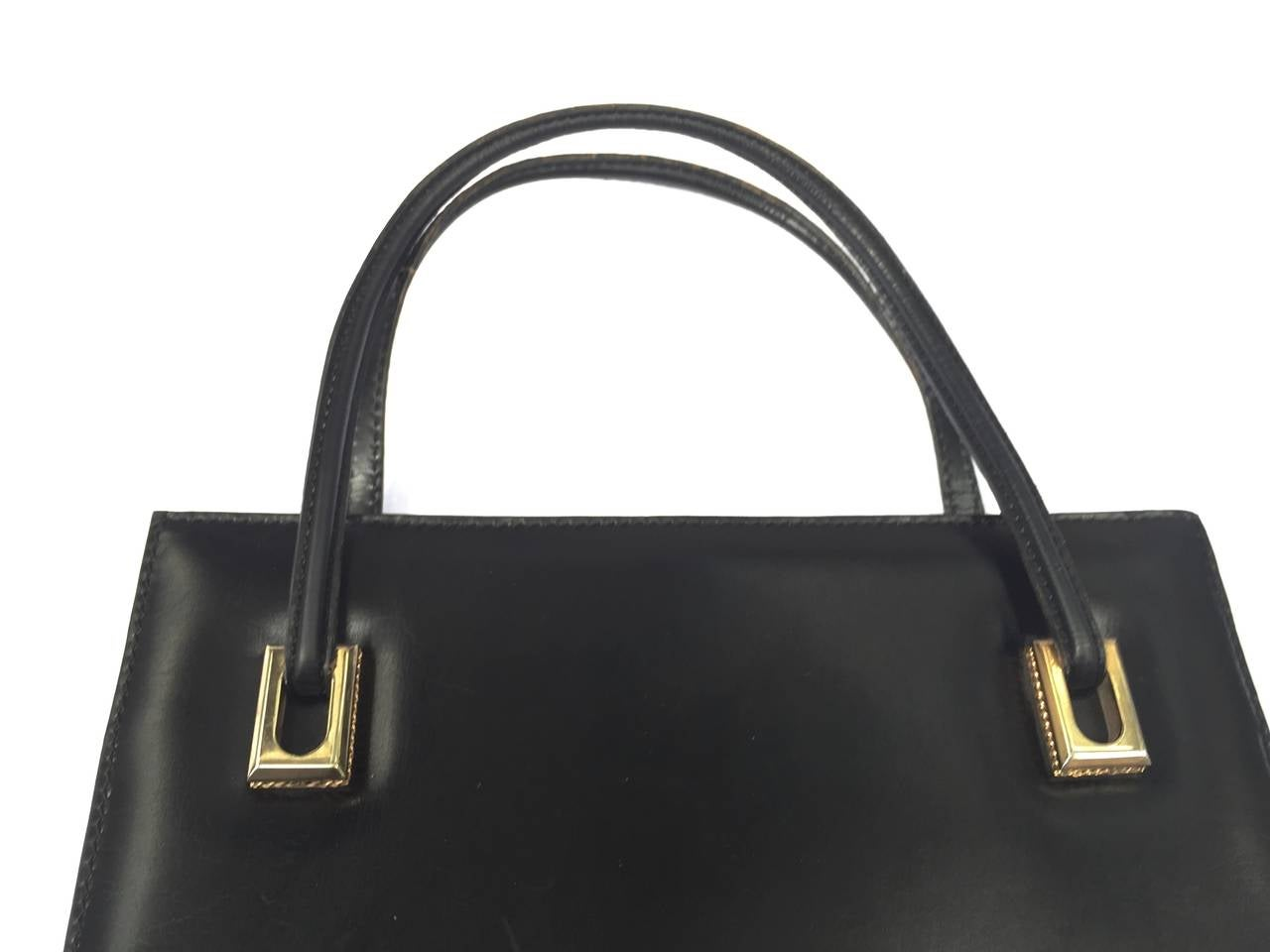 Loewe 60s black leather handbag. 3