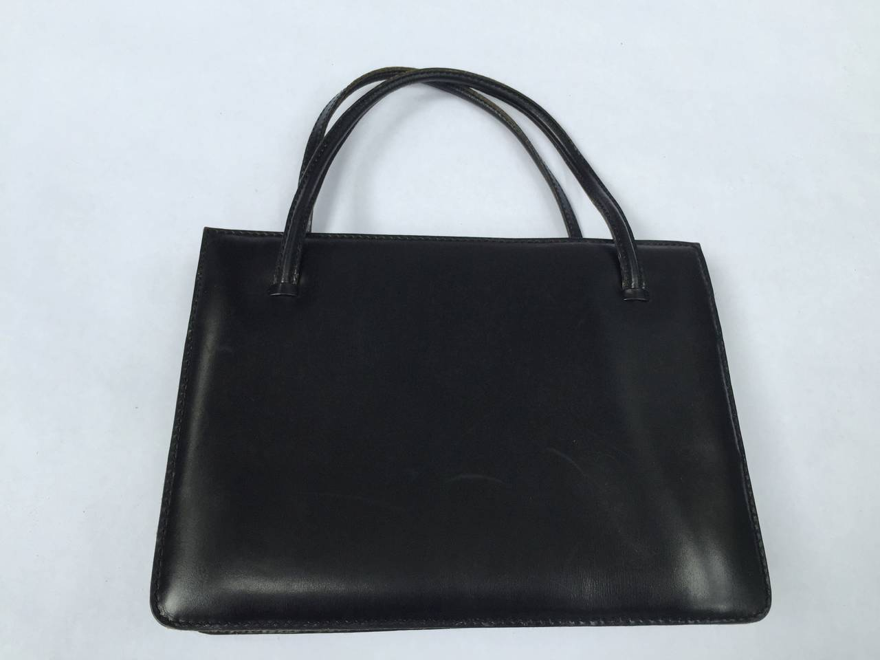 Loewe 60s black leather handbag. 4