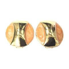 Alexis Kirk 1980s Gold Clip Earrings.