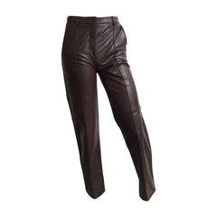 Bottega Veneta Brown Leather Pants Size 4.