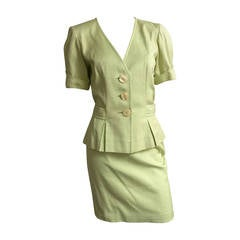 Yves Saint Laurent 80s Cotton Skirt Suit Size 6.