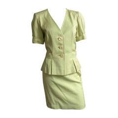 Yves Saint Laurent 80s Cotton Skirt Suit Size 6.