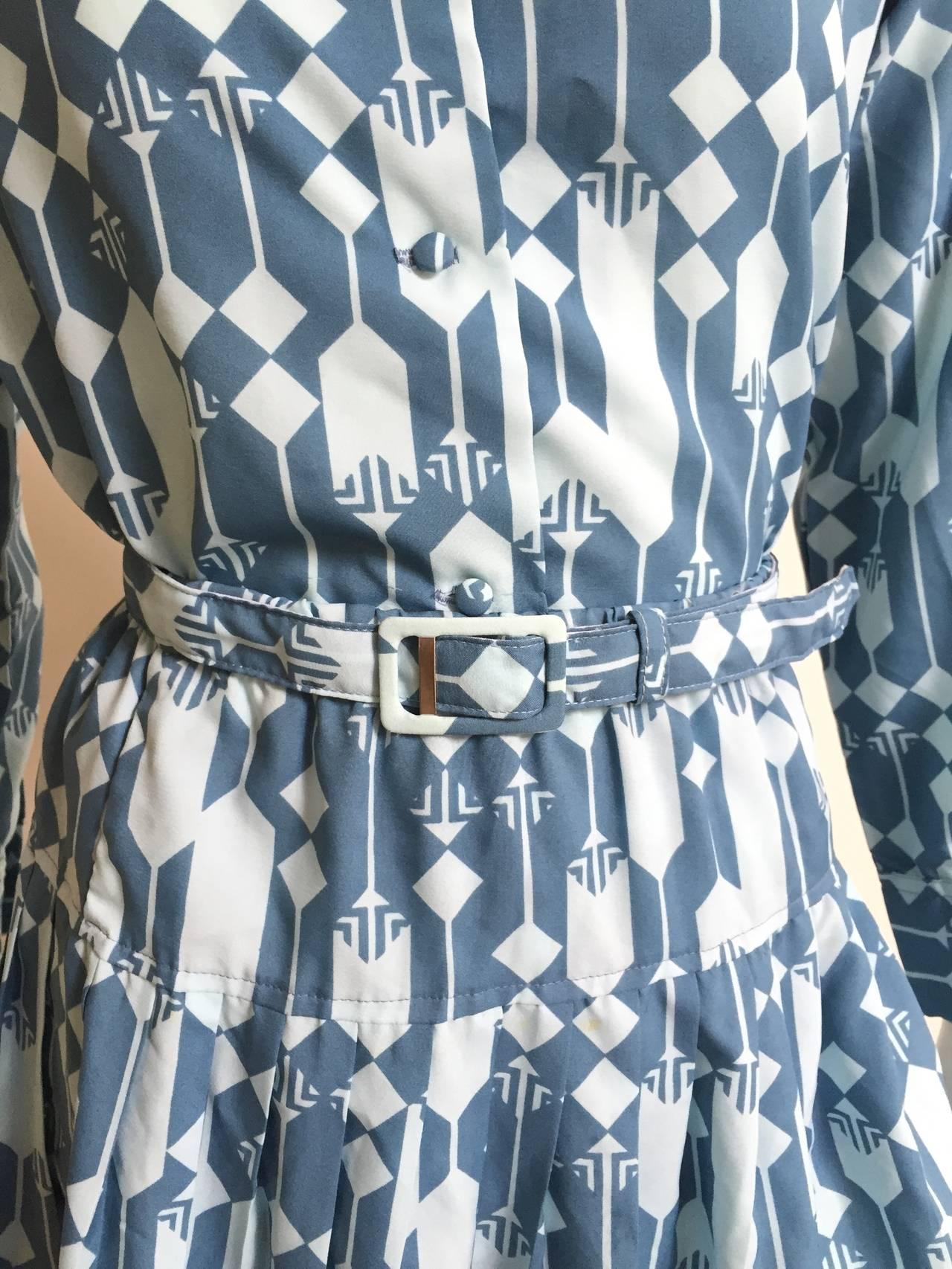 Gray Lanvin Blouse, Skirt & Belt Dress Set Size 8. For Sale