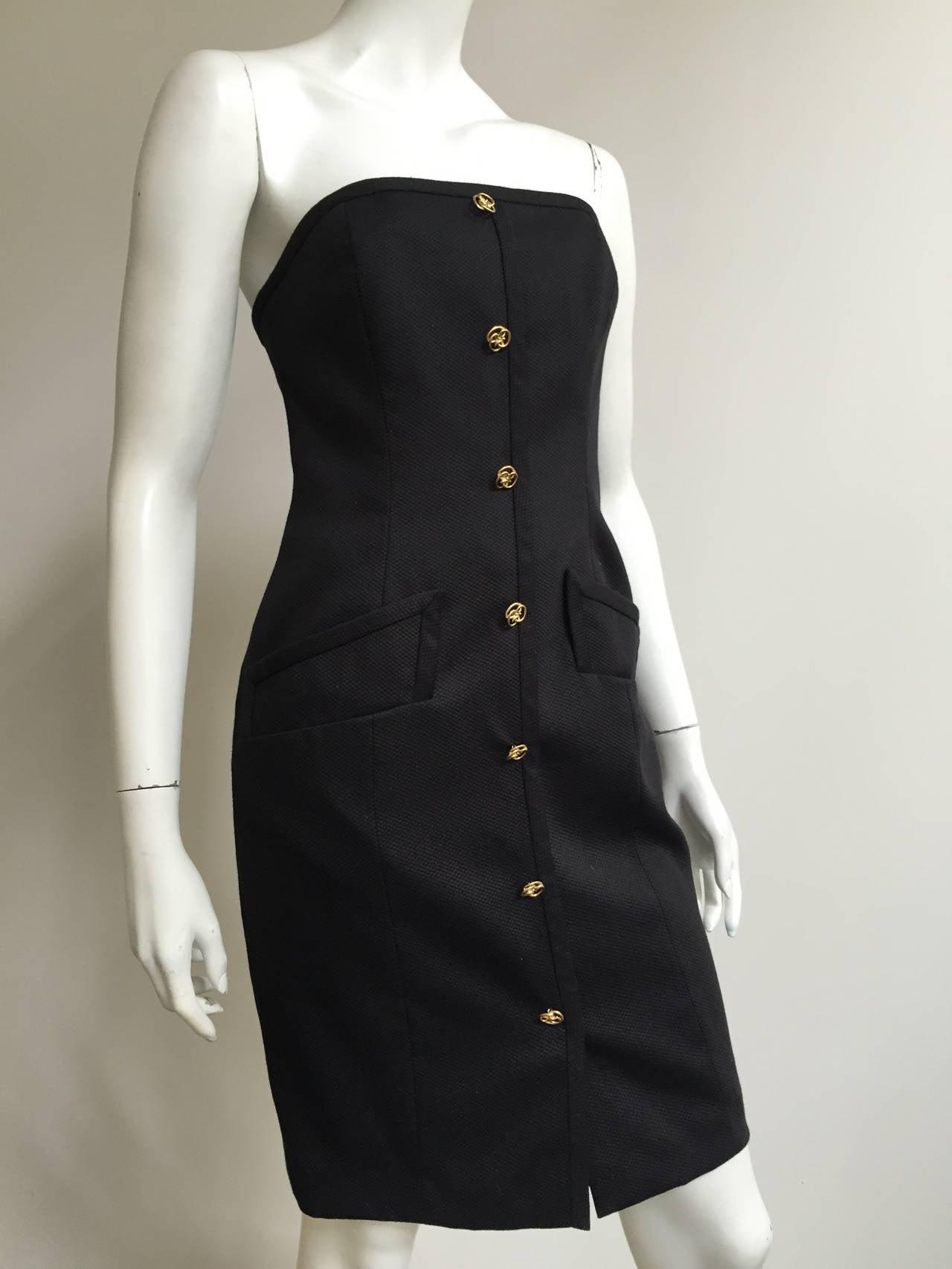 Bill Blass 90s Black Strapless Dress With Pockets Size 4. 2